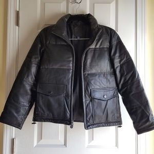 Leather puffer jacket from the GAP